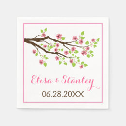 Branch with pink cherry blossoms spring wedding napkin