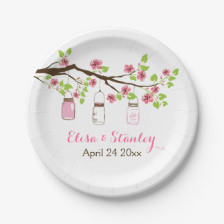 Branch with pink cherry blossoms spring wedding 7 inch paper plate