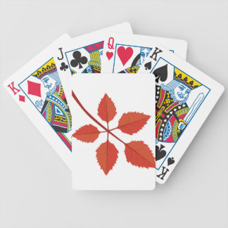 Branch with red autumn leaves bicycle playing cards