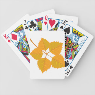 Branch with yellow autumn leaves bicycle playing cards