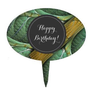 """""""Branched"""" Organic Green Fractal Cake Topper"""