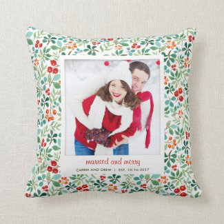 Branches and Berries Christmas Photo Pillow