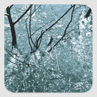 BRANCHES IN ICE BLUE WATER RAPIDS SQUARE STICKER