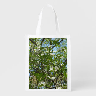 Branches of Dogwood Blossoms Spring Trees Reusable Grocery Bag