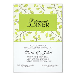 Branches of Green Leaves, Rehearsal Dinner Card