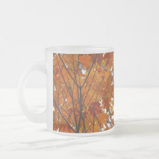 Branches of Maple Leaves I Orange Autumn Frosted Glass Coffee Mug