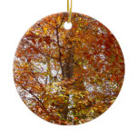 Branches of Orange Leaves Autumn Nature Ceramic Ornament