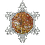 Branches of Orange Leaves Autumn Nature Snowflake Pewter Christmas Ornament