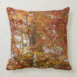Branches of Orange Leaves Autumn Nature Throw Pillow
