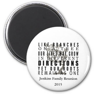 Branches on a Tree Family Reunion Quote 2 Inch Round Magnet