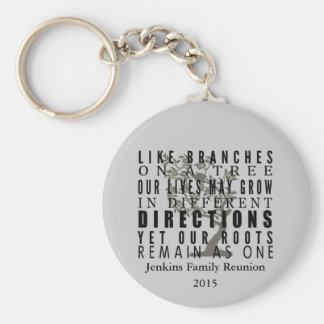 Branches on a Tree Family Reunion Quote Keychain