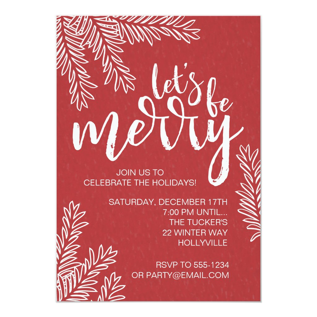 Branches on Red Christmas Party Invitation