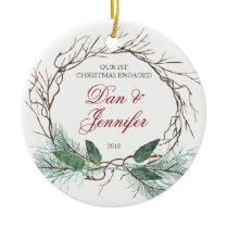 Branches & Pine First Christmas Engaged Fiance Ceramic Ornament