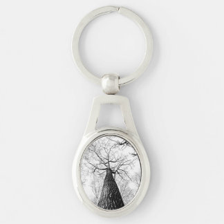 branches Silver-Colored oval metal keychain