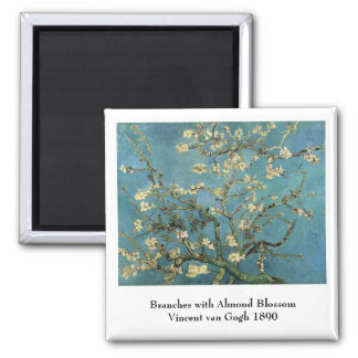 Branches with Almond Blossom by Vincent van Gogh 2 Inch Square Magnet