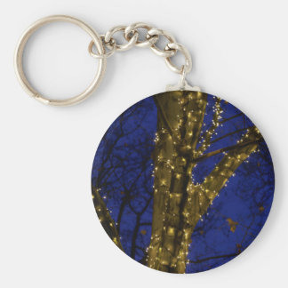 Branches with Christmas lights and a dark blue sky Keychain