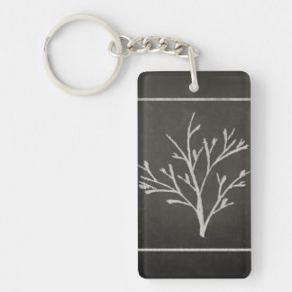 Branching Tree Sapling Chalk Drawing Keychain