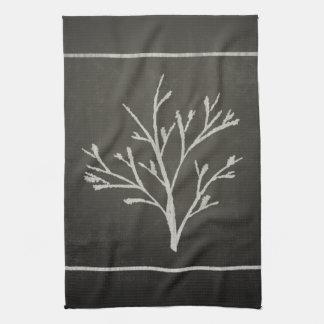 Branching Tree Sapling Chalk Drawing Kitchen Towel
