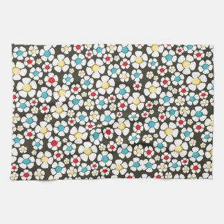 branco floral del padrão toallas de cocina