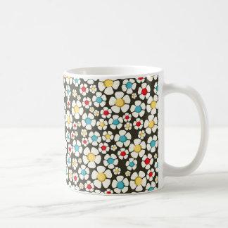 branco floral del padrão taza de café