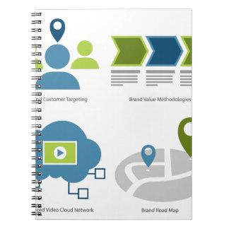 Brand management icon set notebook
