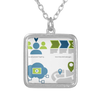 Brand management icon set silver plated necklace