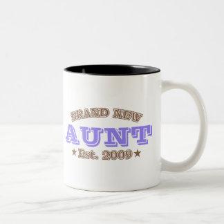 Brand New Aunt Est. 2009 (Purple) Two-Tone Coffee Mug
