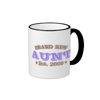 Brand New Aunt Est. 2009 (Purple) Ringer Coffee Mug