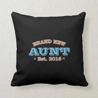Brand New Aunt Est. 2016 (Blue) Throw Pillow