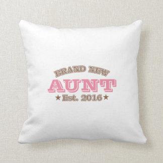 Brand New Aunt Est. 2016 (Pink) Throw Pillow