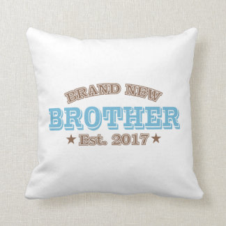 Brand New Brother Est. 2017 (Blue) Throw Pillow