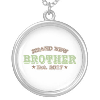 Brand New Brother Est. 2017 (Green) Silver Plated Necklace