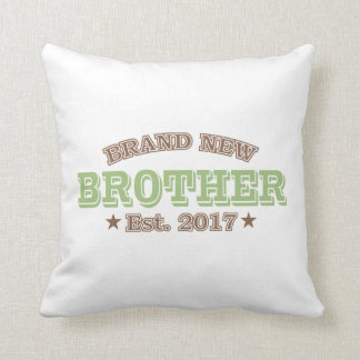 Brand New Brother Est. 2017 (Green) Throw Pillow