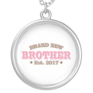 Brand New Brother Est. 2017 (Pink) Silver Plated Necklace