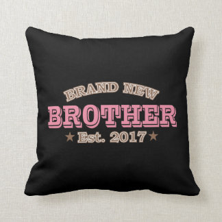 Brand New Brother Est. 2017 (Pink) Throw Pillow