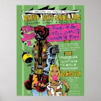 artsprojekt, brand new cadillac print, poster, jim, mahfood, food, one, 40oz, comics, clerks, grrl scouts, colt 45, stupid, page, filler, man, live art, live, art, z-trip, murs, felt, true, tales, underground, hip, hop, sarah, silverman, program, frenchpulp, mahf, earthworms, comic, books., jim mahfood, jim mahfood skateboards, food one skateboards, 40 oz comics skateboards, food one, Cartaz/impressão com design gráfico personalizado