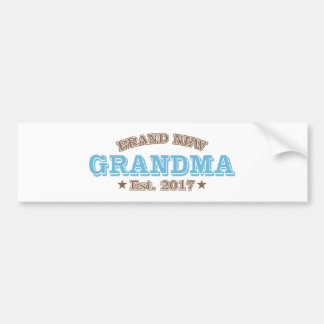 Brand New Grandma Est. 2017 (Blue) Bumper Sticker