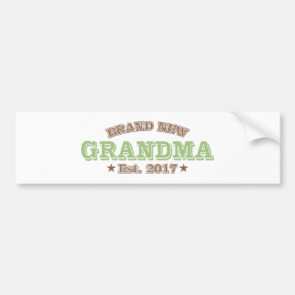 Brand New Grandma Est. 2017 (Green) Bumper Sticker