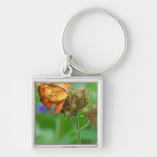 Brand new hatched butterfly baby, orange wings Silver-Colored square keychain