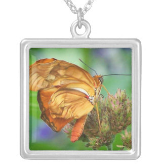 Brand new hatched butterfly baby, orange wings square pendant necklace