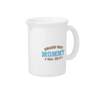 Brand New Mommy Est. 2017 (Blue) Beverage Pitcher
