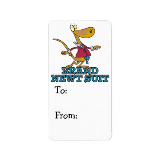 brand new newt suit lizard pun personalized address labels