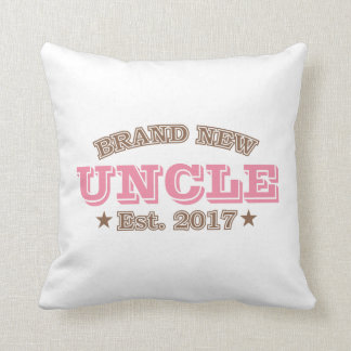 Brand New Uncle Est. 2017 (Pink) Throw Pillow
