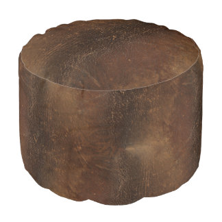 Branded Cowhide Faux Leather Pouf