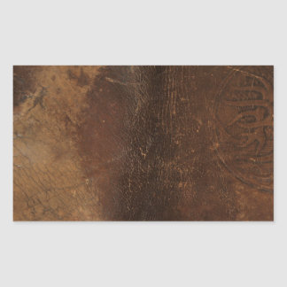 Branded Cowhide Faux Leather Rectangular Sticker