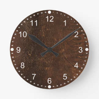 Branded Cowhide Faux Leather Round Clock
