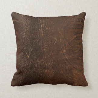 Branded Cowhide Faux Leather Throw Pillow