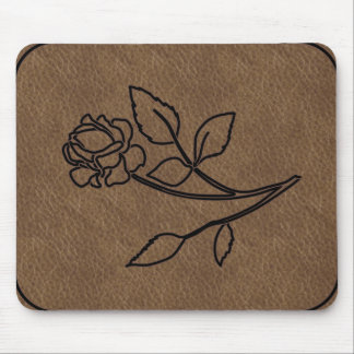 BRANDED ROSE LEATHER MousePad