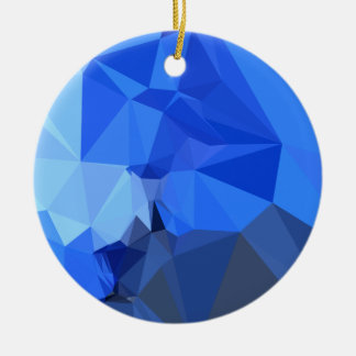 Brandeis Blue Abstract Low Polygon Background Ceramic Ornament
