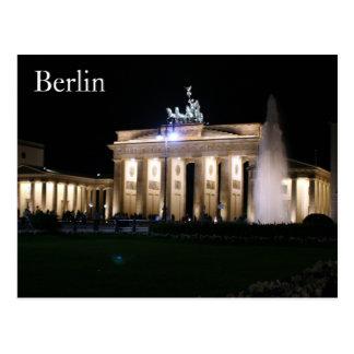 brandenburg berlin night postcard